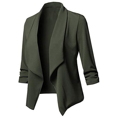 Xmiral Anzug Strickjacken Damen Einfarbig Umlegekragen Langarm Blazer Büro Jacken Mantel Große Größe V-Ausschnitt Tunika für Hochzeit Arbeit Geschäft (Armeegrün,L)