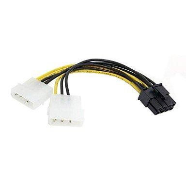 Dual molex 4 pin IDE al cavo cavo di alimentazione PCI-E a 8 pin per asus msi video VGA scheda grafica 0,15 m 0.45ft