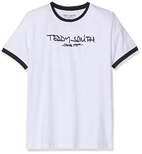 Teddy Smith TICLASS3 JR MC T-shirt Garçon, Blanc (Blanc Seri Dark Navy 202s7), 14 ans