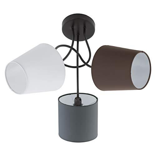 EGLO Lámpara de techo E14, Anthrazit/Weiß/Braun, 59 x 59 x 35 cm