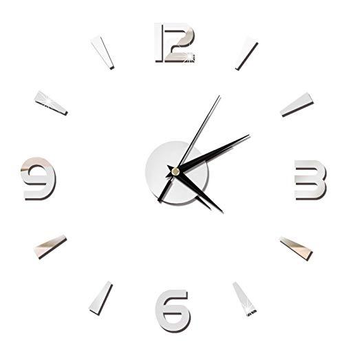 Omabeta Reloj de Pared 3D Pegatina Ciudad de Moda DIY Pared Reloj Decorativo Pared diseño Creativo Espejo Reloj Colgante decoración de habitación de Oficina(Plata)