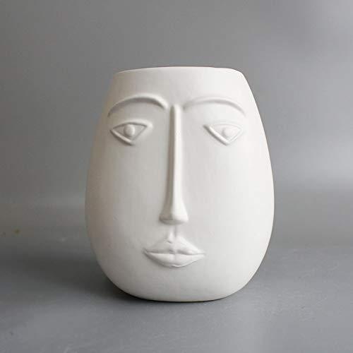 Nordique abstrait visage humain vase décoration ornements grand diamètre grand diamètre en céramique fleur artificielle arrangement de fleurs salon accessoires pour la maison 15 * 11 cm B blanc mat