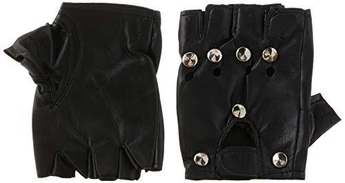 Smiffy's-22444 Guantes Punks, con Tachuelas, Color Negro, Tamaño único (22444)