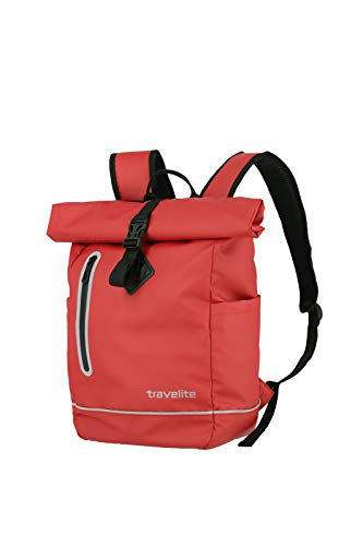 Travelite Basic Series Roll-Up Backpack Waterproof Material Luggage Backpack Tarpaulin Practical Rucksack with Roll-Up Function 48 cm 19 Litres Red