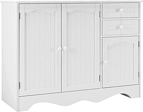 HOMECHO Credenza Moderna da Cucina Armadietto Bianco con 2 Cassetti e 3 Ante Mobiletto da Pranzo in Legno per Corridoio, Soggiorno, Cucina105x40x78cm