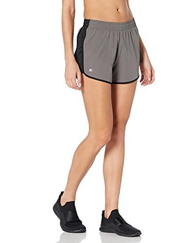 Starter Women's Stretch Running Short, Amazon Exclusive, Iron Grey/Black, Extra Large