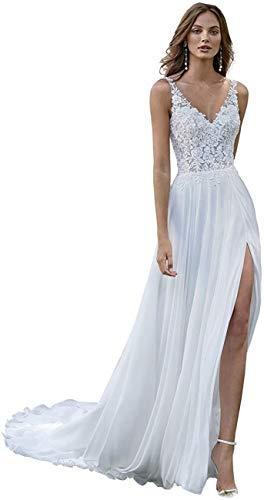 Megan A-Linie Träger mit ärmellosem Spitzen-Brautkleid, Hochzeitskleider für Frauen, Braut V-Rücken, Split Beach/Boho/Bohemian Sexy Gr. 40, elfenbeinfarben