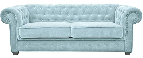 Chesterfield Style Sofa bed Venus 3 Seater 2 Seater Fabric Light Blue Cream Settee Chesterfield Style (2seater, Light Blue)