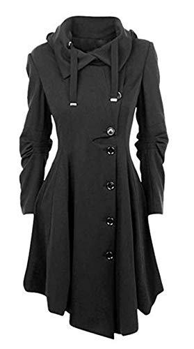 Vertvie Damen Mantel Kleid Lang Elegant Winter Gotik Asymmetrische Jacke(XL/EU 40-42, Schwarz)