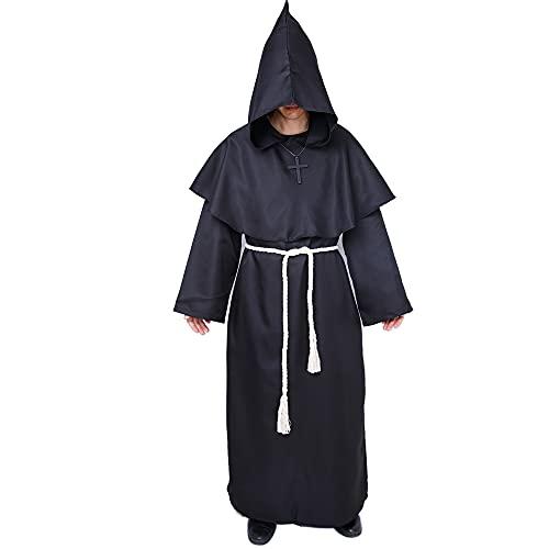 Myir JUN Disfraz de Monje Sacerdote Túnica Medieval Renacimiento Traje con Cruz para Halloween Carnaval (Negro, XL)