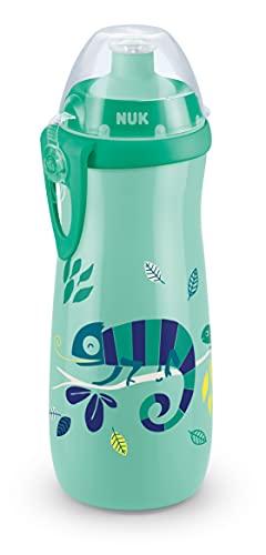 NUK Sports Cup bottiglietta con effetto camaleonte | 36+ mesi | Cangiante | Beccuccio push-pull anti-goccia | Clip e coperchio protettivo | Senza BPA | 450 ml | Camaleonte (verde)