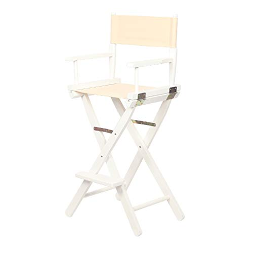 BAR STOOL Chaise Pliante en Toile Blanche, Pieds en Bois Blanc, Chaise de Directeur Pliable en Bois, Maquillage MakeupArtist