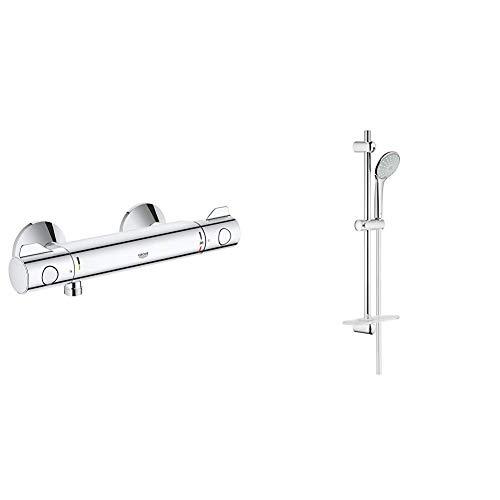 Grohe Grohtherm 800 - Termostato de ducha 1/2' Ref. 34558000 + Grohe 27 230 001 Euphoria 110 Duo. Conjunto de ducha 2 chorros, Cromo, 600 mm