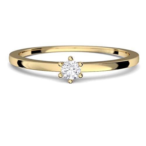 Goldring Damen 585 Verlobungsringe Gold Diamant 0,05 Carat H/si **sehr gute Qualität** +inkl. Luxusetui+ Diamantring solitär schmal dünn Goldring Diamant Ring Gold Diamantring Gelbgold FF50GG585BRFA50