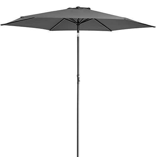 Deuba Sombrilla de Aluminio de 300cm Antracita Parasol Repelente al Agua y a los rayos UV Inclinable