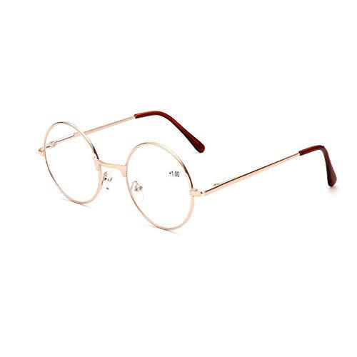 Runde Lesebrille Damen - Meijunter Retro Frühling Scharnier Metall Rahmen Klar Linse Leser Brillen Stärke +1.00 bis +4.00