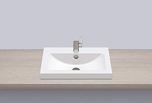 ALAPE Aufsatzwaschtisch AB.R585H.1,58,5 x 40,5 x 6 cm, Stahl glas, 1 Stück, weiß,3202000000