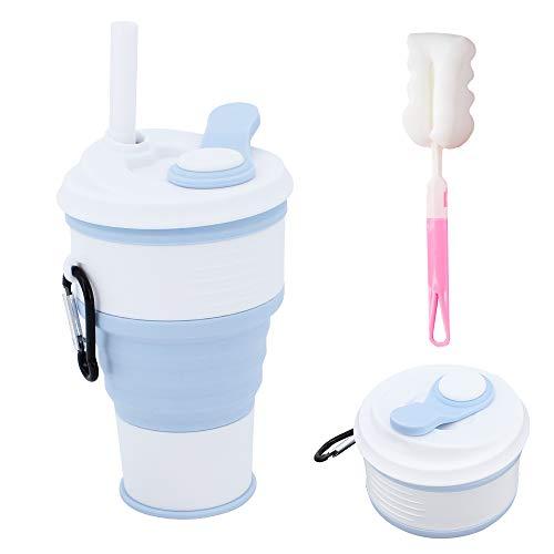MoYouno Taza de café plegable con tapa, taza de vaso, taza de viaje plegable portátil, taza de silicona reutilizable, tazas retráctiles a prueba de fugas de 360 ml con pajita para acampar, senderismo