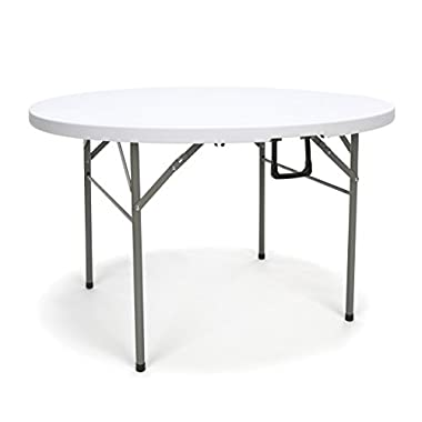 Essentials Multipurpose Folding Utility Table - Sturdy Card/Conference/Office/Craft Center Folding Plastic Table, 48  Round, White (ESS-5048RF)