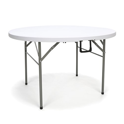 "OFM Essentials Collection 48"" Round Center-Folding Utility Table, in White"