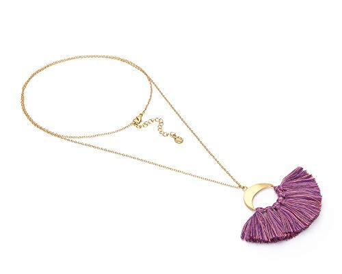 VESTOPAZZO FIS5007 - Collar con colgante de flecos color lavanda