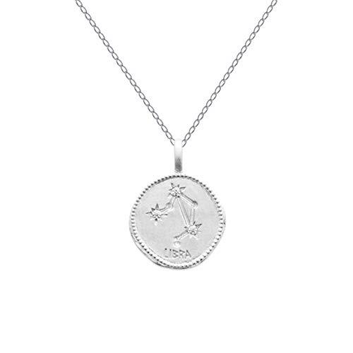 Halsketting 50 cm sterrenbeeld balans van sterling zilver 925 gerhodineerd en zirkonia