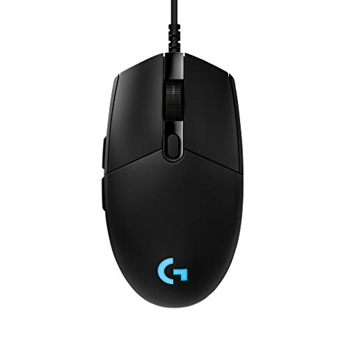 Logitech G PRO Wired Gaming Mouse, Hero 16K Sensor, 16000 DPI, RGB, Ultra Lightweight, 6 Programmable Buttons, On-Board Memory, Built for Esport, Compatible with PC/Mac - Black