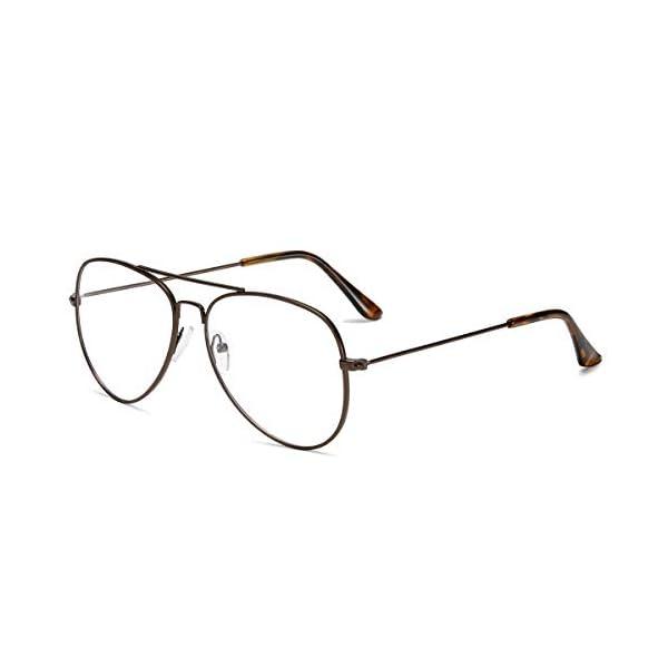 AISSWZBER Clear Aviator Glasses Lens Premium Classic Metal Frame Eyeglasses