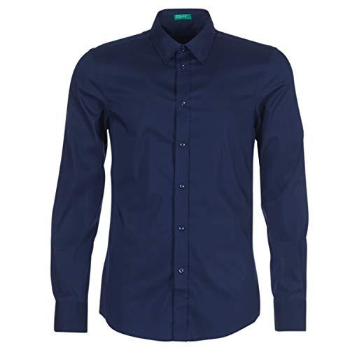 Benetton Maka Hemden Hommes Marine - S - Langärmelige Hemden