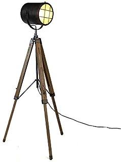 max Treppiede Base in Metallo ldeale per salotto Paralume /Ø34cm nero e oro 60 W Lampada da Terra Vintage- Lampada a Stelo in Stile Retro con attacco E27 camera da letto Altezza 147cm