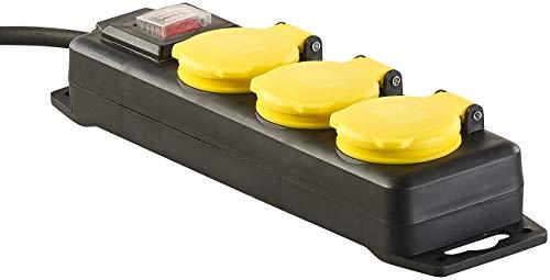 revolt Steckdosenleiste aussen: Schaltbare 3-fach-Outdoor-Steckdosenleiste, bis 3.680 Watt, IP44 (Steckdosenleiste Garten)
