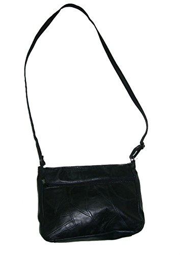 Yojanpiel - Bolso-Bandolera de piel Negra   Resistente y Duradera   Mochila de mano casual   Suave y Cómoda de Llevar Bolsos de Mano Elegantes para Mujer   Espacioso Sencillo y Duradero