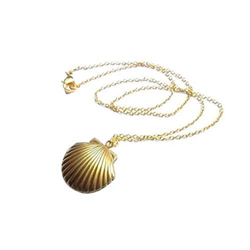 Canjerusof Vintage Sea Shell Locket, Mermaid Valentine Necklace, Beach Locket, Gold Tone Brass, Little Shell Locket, Nautical Jewelry