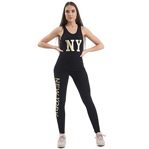 VR7 Vrouwen Gym Pak Set New York NY Broek Sport Tops 2 stks Tracksuit Yoga Casual Fitness Joggen Hardlooppakken UK Maat 6-12