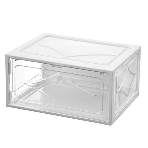 KKING Caja De Zapatos, 6 Cajas 10 Piezas para Damas Y Hombres, Reutilizable, Caja De Almacenamiento De Zapatos Portátil Organizador Transparente Apilable,White 6 Piece Set
