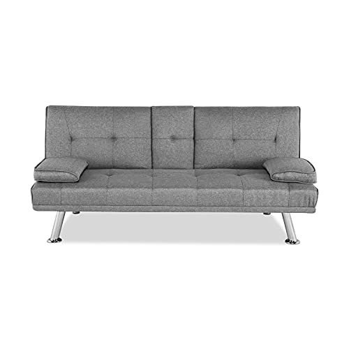 AllRight 3-Seater Sofa Bed Multifunctional Click Clack Modern Sleep Sofa Linen Fabric Cushion Recliner Expandable with 2 Cup Holders for Living Room Guest Room Bedroom
