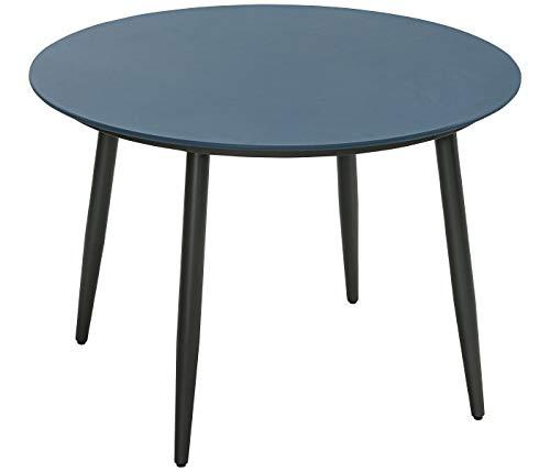 Dehner Gartentisch Delphi, Ø 110 cm, Höhe 74.5 cm, Aluminium, blau/schwarz
