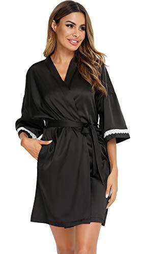 Vlazom Vestido de dama Bata corta de baño para la novia Bata de raso de kimono Camisón con cinturón Ropa de noche sexy con bolsillos y encaje floral,XXL,Y-Negro