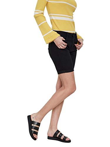 Vero Moda NOS Damen Shorts VMHOT Seven NW DNM Long F Mix NOOS, Schwarz (Black), W(Herstellergröße: S)