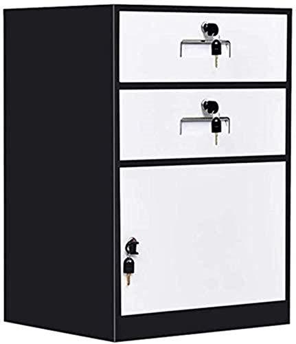 TTOOY cajones para documentosGabinete de Almacenamiento de Archivos Gabinete de Archivo de Metal con 2 cajones y 1 Puerta con Cerradura Gabinete de Datos Que Llena la mesita de Noche