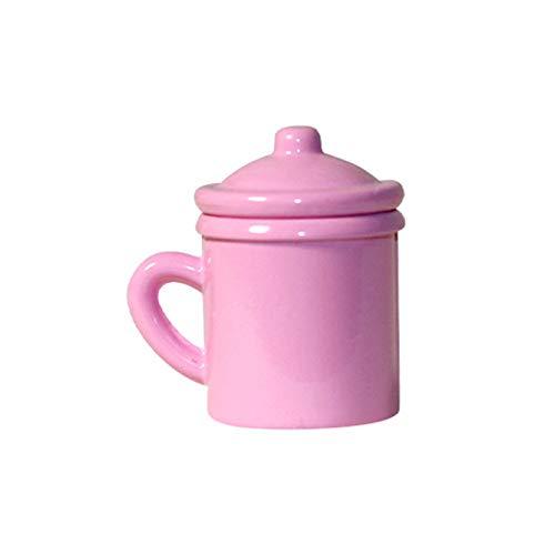 GRASARY Taza En Miniatura De Casa De Muñecas, Respetuosa con El Medio Ambiente, Aleación Viva 1:12, Taza En Miniatura De Casa De Muñecas para Niños, Juego De Regalo De Juguete De Casa De Muñecas Rosa