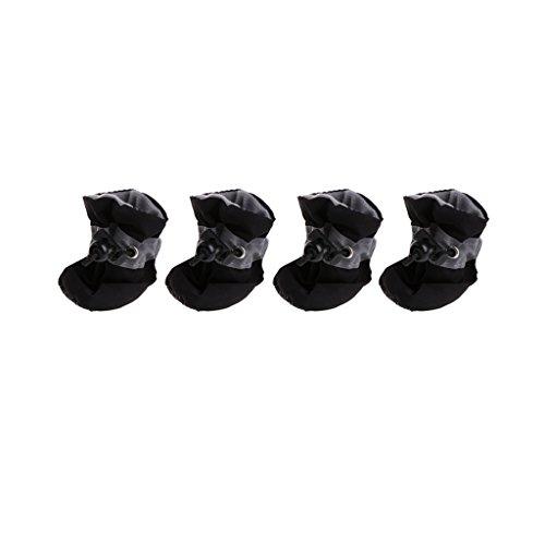 Pennyninis 1 Set (4 Piezas) Zapatos de Perro Impermeable Lluvia Nieve Botas Impermeable Goma Antideslizante Zapatos compatible con Perro pequeo Cachorro (Negro)