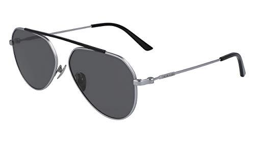 Calvin Klein EYEWEAR Unisex-Adult CK19147S Sunglasses, DARK SILV, 5815