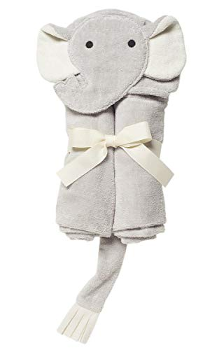 Elegant Baby Top Selling  Bath Gift - Cotton Hooded Towel Wrap, Soft Grey Elephant