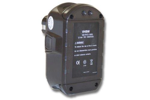 vhbw Batería Recargable Compatible con Ryobi P2060, P208B, P210, P2100, P2102, P2105, P211, P220 Herramientas eléctricas (3000 mAh Li-Ion 18 V)