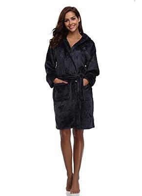 Luvrobes Women's Plush Fleece Hooded Robe Ultra-Soft Short Bathrobe