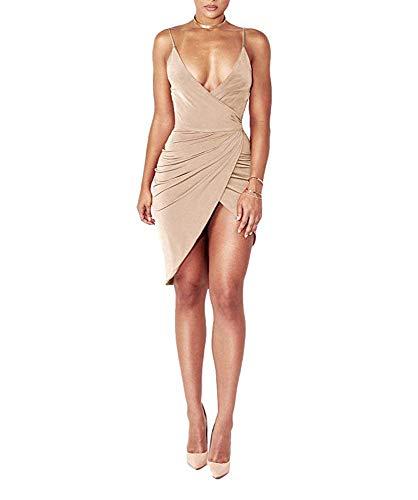 DRESHOW Damen Sexy Deep V-Ausschnitt àrmelloses Spaghetti-Armband Bodycon Wrap Kleid Vorne Schlitzbandage Midi Club Kleid, Beige 1, S S Beige 1