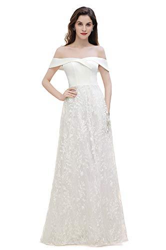 MisShow Damen elegant Hochzeitskleid Brautkleid mit Carmen Ausschnitt Blumenbesticktes Ballkleid Abendkleid Maxilang Elfenbein 36