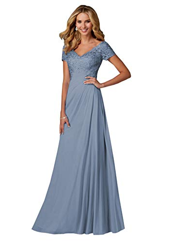 Women's V-Neck Open Back Bridesmaid Gown Chiffon Short Sleeve Mother of The Bride Dress Dusty Blue Size 12