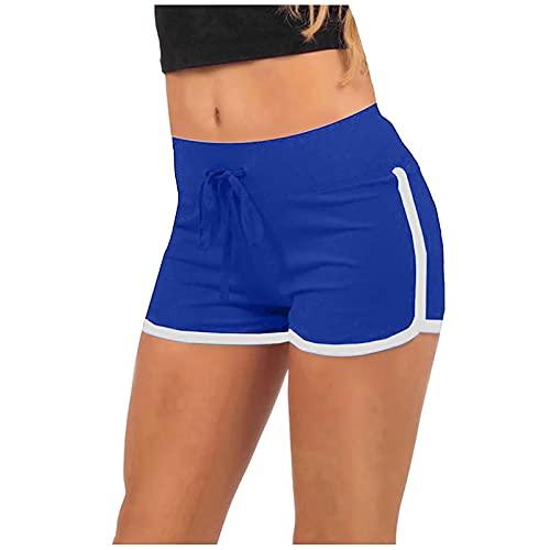 XOXSION Pantalones cortos de verano para mujer, ligeros, deportivos, con cinturón, para correr, yoga, para verano, elásticos, ligeros, tipo harén (azul, XL)